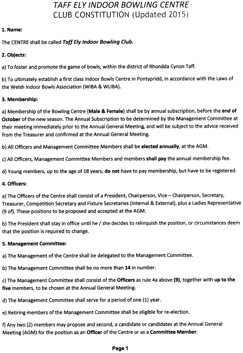 Constitution & Rules Taff Ely Indoor Bowls Centre
